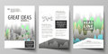 The vector illustration of the editable layout of three A4 format modern covers design templates for brochure, magazine