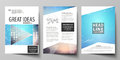 The vector illustration of editable layout of three A4 format modern covers design templates for brochure, magazine