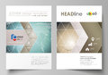 The vector illustration of the editable layout of two A4 format covers with triangles design templates for brochure