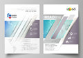 The vector illustration of the editable layout of two A4 format modern covers design templates for brochure, magazine