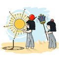 Vector illustration of an Egyptian and a sundial. Royalty Free Stock Photo