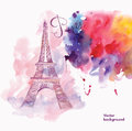 Vector illustration with Eiffel tower Royalty Free Stock Photo