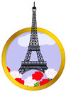 Vector illustration eiffel tower round frame Royalty Free Stock Image