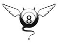 Vector illustration of eight ball with horns and tail Stock Images