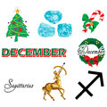 Vector illustration of eight december icons including birthstones holidays and zodiac symbols Royalty Free Stock Photo