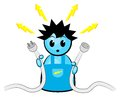 Vector illustration electrician who gets electric shock Royalty Free Stock Image