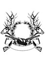 Vector illustration elk hedas oak wreath crossed gun Royalty Free Stock Photography