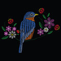 Vector illustration embroidery stitches with bluebird wildflower