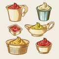Vector illustration of an engraving style set of different sauces in saucepans.