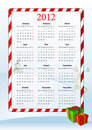Vector illustration of European calendar 2012 Royalty Free Stock Image