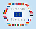 Vector illustration of European Union countries flags