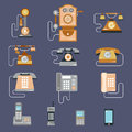 Vector illustration of evolution of communication devices from classic phone to modern mobile phone. Retro vintage icons Royalty Free Stock Photo