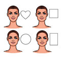 Vector illustration of face types.