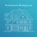 Vector illustration of family house or cottage. Architecture blueprint