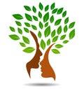 Family tree logo with profile faces Royalty Free Stock Photo