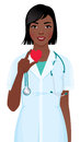 Vector illustration of a female doctor or nurse with stethoscope Royalty Free Stock Photo