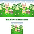 Vector illustration of find the five differences with the Easter Bunny