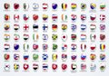 Vector Illustration flags of the world in shield form with names