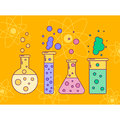 Vector illustration of flask with liquids, line art, bubbles, ch Royalty Free Stock Photo