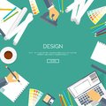 Vector illustration flat background. Web design drawing, painting. Project planning.Paperwork.