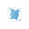Vector illustration of flat bold line alarm clock icon.