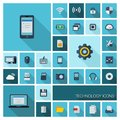 Vector illustration of flat color icons with long shadow for digital technology Royalty Free Stock Photo