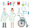 Vector illustration of flat colored ambulance doctors icons and healthcare symbols medical and hospital people Royalty Free Stock Photo