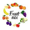 Vector illustration, flat fruits.