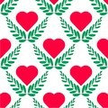 Vector illustration. Flat leaf and heart logo template on white background. Seamless pattern heart