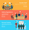 Vector illustration of flat negotiations and personal traning eps Stock Photography