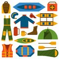 Vector flat rafting icons