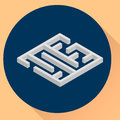 Vector illustration. flat round icon, maze, isometric.