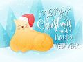 Vector illustration of flat style fat ginger cat in santa hat with greeting lettering phrase Royalty Free Stock Photo