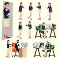 Vector illustration in a flat style of office salary woman in working uniform. Many action of the happy woman