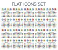 Vector illustration of 500 flat thin line color web icons