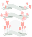Vector illustration of floral banner with hearts Royalty Free Stock Photo
