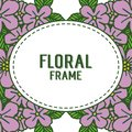 Vector illustration floral frame with decoration purple flowers