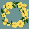 Vector illustration of a wreath of yellow wildflowers