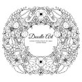 Vector illustration of floral frame Zen Tangle. Dudlart. Coloring book anti stress for adults. Black white. Royalty Free Stock Photo