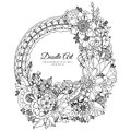 Vector illustration of floral frame Zen Tangle. Dudlart. Coloring book anti stress for adults. Royalty Free Stock Photo
