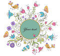 Vector illustration floral summer frame white background Royalty Free Stock Images
