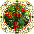 Vector illustration of flower red marigold mosaic with large cells brightly with buds in round stained glass window frame Royalty Free Stock Images