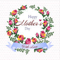 Vector illustration of flower wreath with happy Mother`s day greeting
