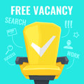 Vector illustration of a free vacancy with yellow chair worker and drawings search,human, magnifying glass Royalty Free Stock Photo
