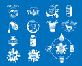 Vector illustration of fresh dairy milk logos, stamps for milky natural product