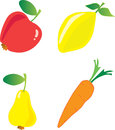 Vector illustration fruits vegetables Stock Photos