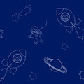 Vector illustration funny cats flying in space ship and space suit in outer space seamless pattern, white outlines