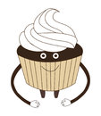 Vector illustration of funny cupcake with cream cartoon isolate