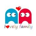 Vector illustration funny jelly love oval Royalty Free Stock Photo