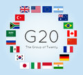 Vector illustration of G-20 countries flags. The Group of Twenty